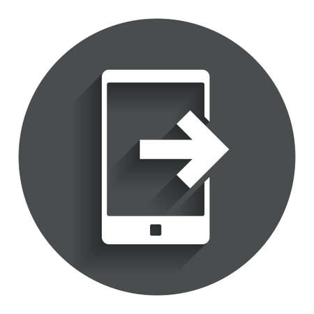 outcoming: Outcoming call sign icon. Smartphone symbol. Circle flat button with shadow. Modern UI website navigation.