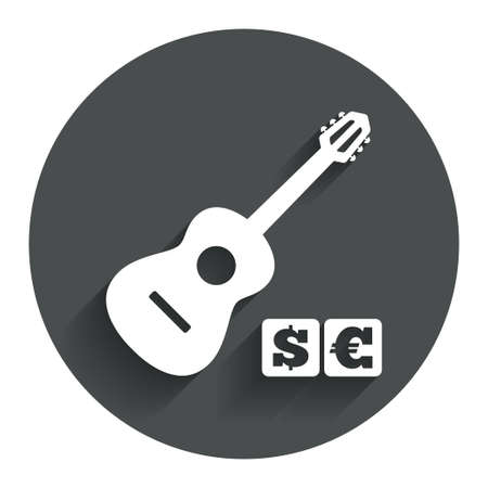 Acoustic guitar sign icon. Paid music symbol. Circle flat button with shadow. Modern UI website navigation. Stock Photo