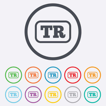 tr: Turkish language sign icon. TR Turkey Portugal translation symbol with frame. Round circle buttons with frame.  Illustration