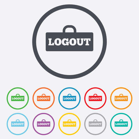 sign out: Logout sign icon. Sign out symbol. Lock icon. Round circle buttons with frame.