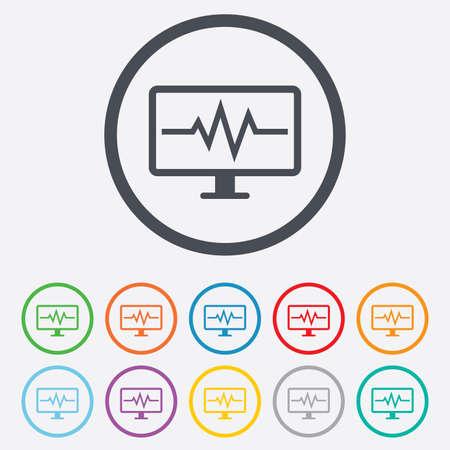 Monitoreo Cardiograma Signo Icono. El Corazón Late Símbolo. Botones ...