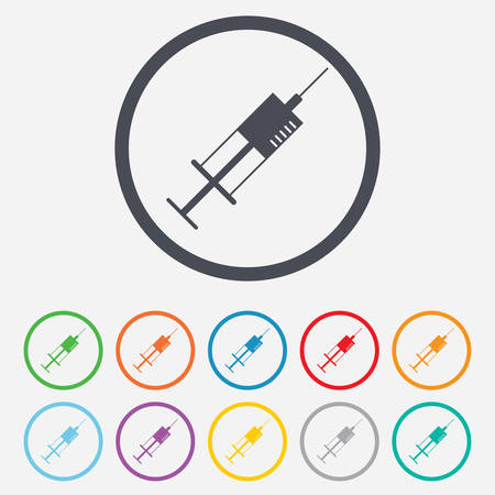 Syringe sign icon. Medicine symbol. Round circle buttons with frame. Vector