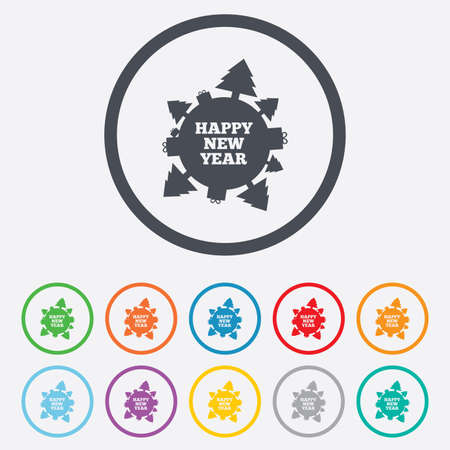 Happy new year globe sign icon. Gifts and trees symbol. Full rotation 360. Round circle buttons with frame. Vector