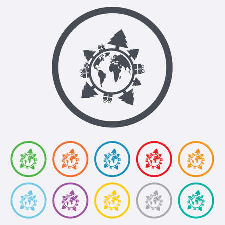 Happy new year earth sign icon. Gifts and trees symbol. Full rotation 360. Round circle buttons with frame.  Vector