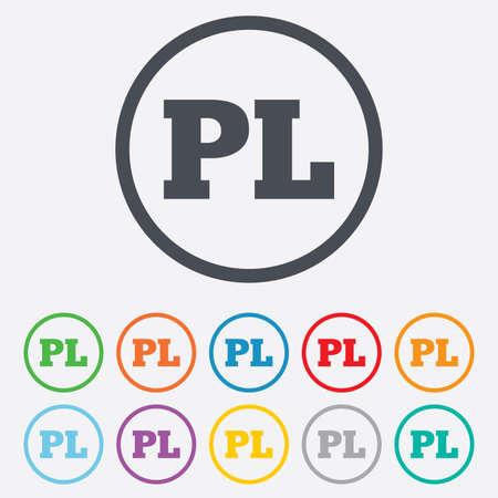 pl: Polish language sign icon. PL translation symbol. Round circle buttons with frame.