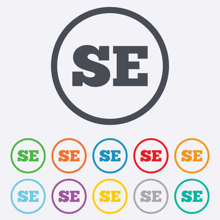se: Swedish language sign icon. SE Sweden Portugal translation symbol. Round circle buttons with frame.  Illustration