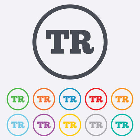 tr: Turkish language sign icon. TR Turkey Portugal translation symbol. Round circle buttons with frame.  Illustration