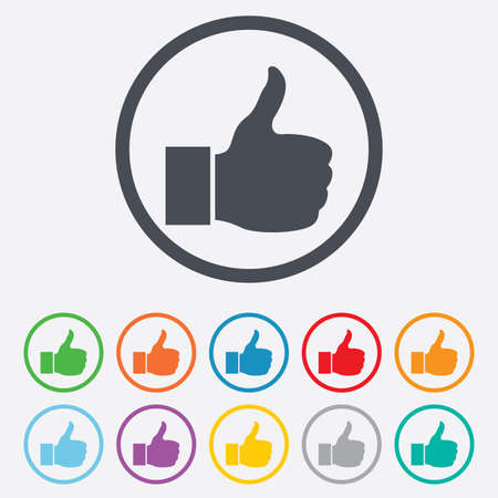 Like sign icon. Thumb up sign. Hand finger up symbol. Round circle buttons with frame. Illustration
