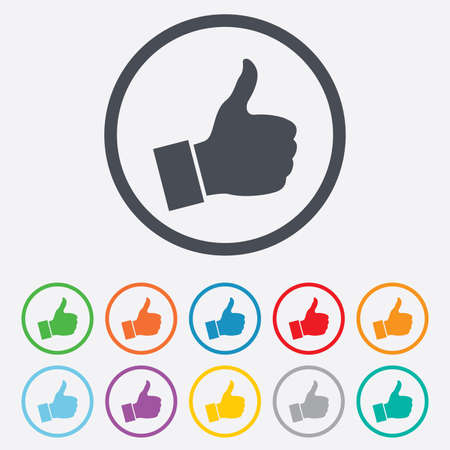 Like sign icon. Thumb up sign. Hand finger up symbol. Round circle buttons with frame. Vector