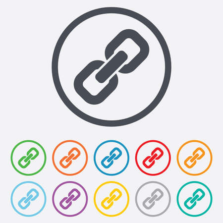 Link sign icon. Hyperlink chain symbol. Round circle buttons with frame. Vector