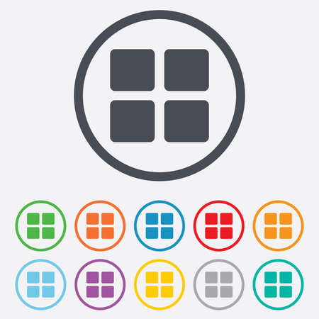 thumbnails: Thumbnails sign icon. Gallery view option symbol. Round circle buttons with frame. Illustration
