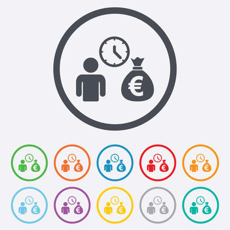 fast money: Bank loans sign icon. Get money fast symbol. Borrow money. Round circle buttons with frame.
