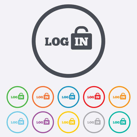 Login sign icon. Sign in symbol. Lock. Round circle buttons with frame.