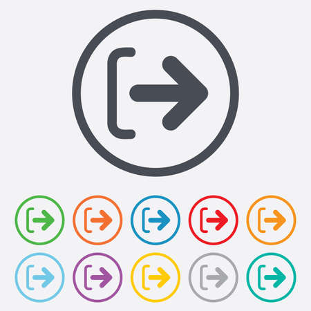 sign out: Logout sign icon. Sign out symbol. Arrow icon. Round circle buttons with frame. Vector Illustration