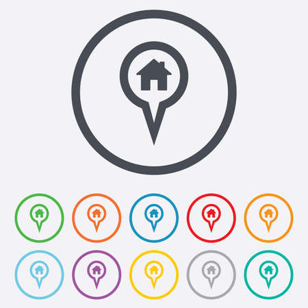 Map pointer house sign icon. Home location marker symbol. Round circle buttons with frame. Vector