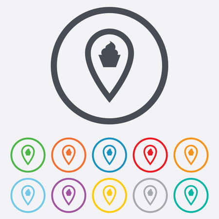 Map pointer food sign icon. Restaurant location marker symbol. Round circle buttons with frame. Vector