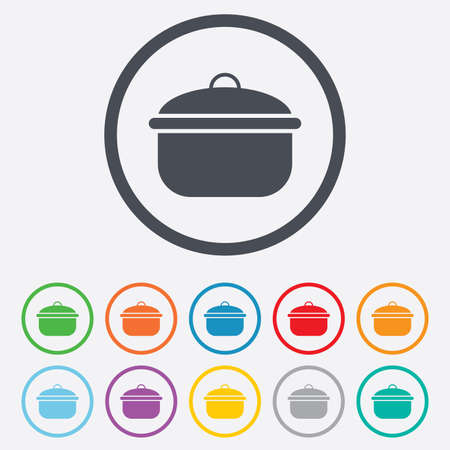 stew: Cooking pan sign icon. Boil or stew food symbol. Round circle buttons with frame. Illustration