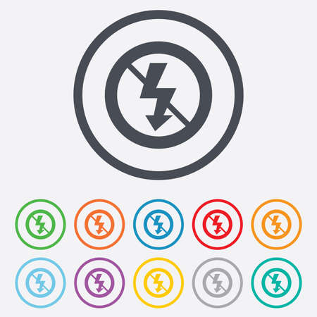 no photo: No Photo flash sign icon. Lightning symbol. Round circle buttons with frame.