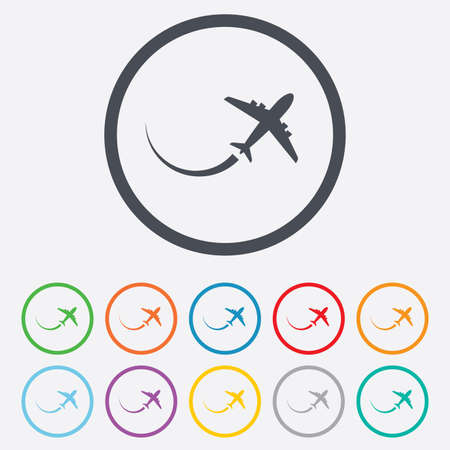 Airplane sign icon. Travel trip symbol. Round circle buttons with frame. Vector