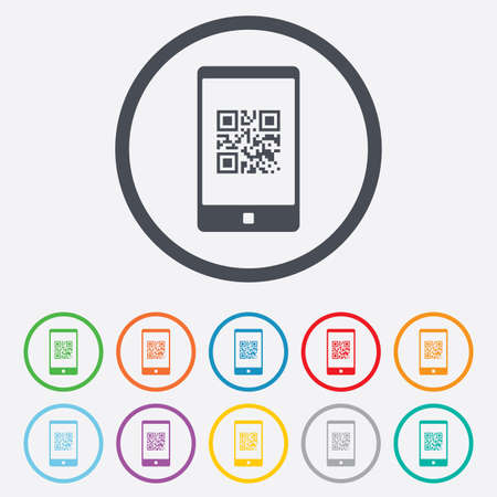 qrcode: Qr code sign icon. Scan code in smartphone symbol. Coded word - success! Round circle buttons with frame.