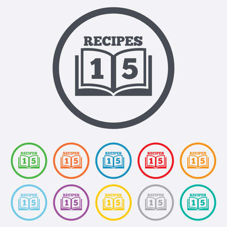 Cookbook sign icon. 15 Recipes book symbol. Round circle buttons with frame.  Vector