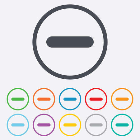 minus sign: Minus sign icon. Negative symbol. Zoom out. Round circle buttons with frame.