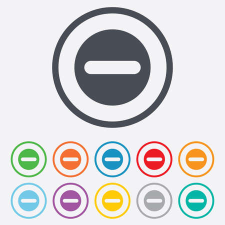 navigation mark: Minus sign icon. Negative symbol. Zoom out. Round circle buttons with frame. Illustration