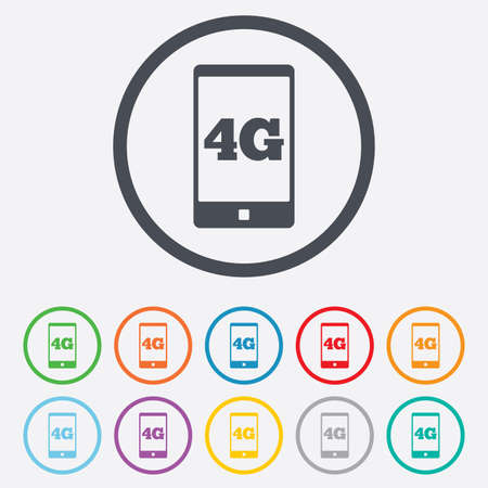 4G sign icon. Mobile telecommunications technology symbol. Round circle buttons with frame.  Vector