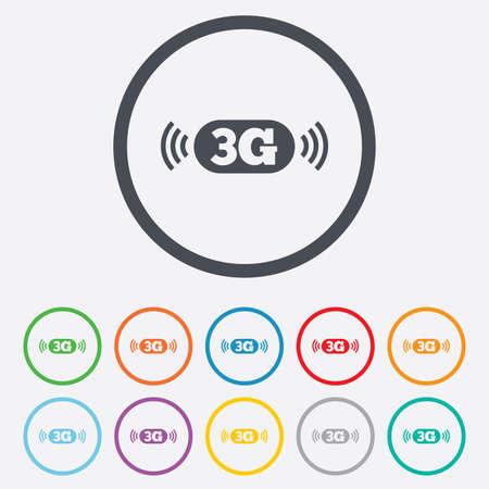3g: Icono de se�al 3G. Telecomunicaciones m�viles s�mbolo tecnolog�a. Botones de c�rculo redondos con marco. Vectores