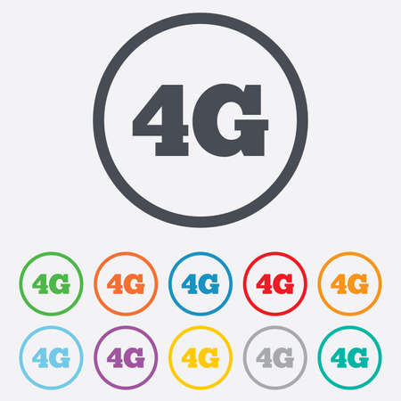 4g: 4G sign icon. Mobile telecommunications technology symbol. Round circle buttons with frame. Illustration