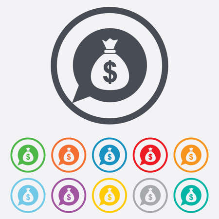usd: Money bag sign icon. Dollar USD currency speech bubble symbol. Round circle buttons with frame.