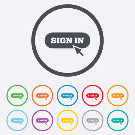 Sign in with cursor pointer sign icon. Login symbol. Website navigation. Round circle buttons with frame.  Vector