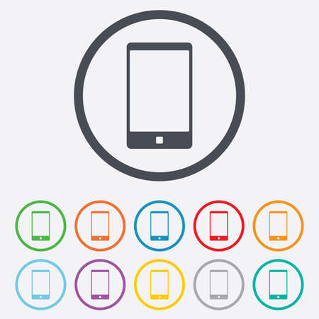 Smartphone sign icon. Support symbol. Call center. Round circle buttons with frame.  Vector