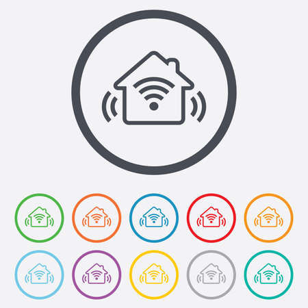 Smart home sign icon. Smart house button. Remote control. Round circle buttons with frame.  Illustration
