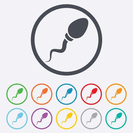 spermatozoa: Sperm sign icon. Fertilization or insemination symbol. Round circle buttons with frame. Illustration