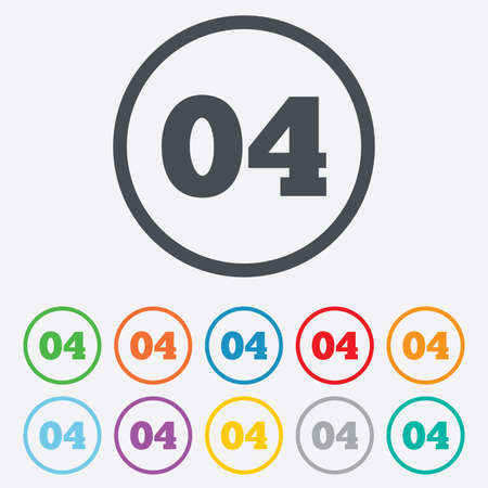 Fourth step sign. Loading process symbol. Step four. Round circle buttons with frame. Vector