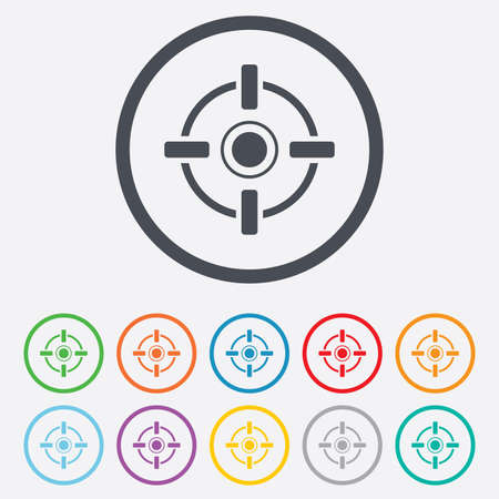 Cross hair sign icon. Target aim symbol. Round circle buttons with frame.