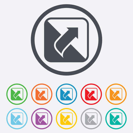 Turn page sign icon. Peel back the corner of the sheet symbol. Round circle buttons with frame. Vector