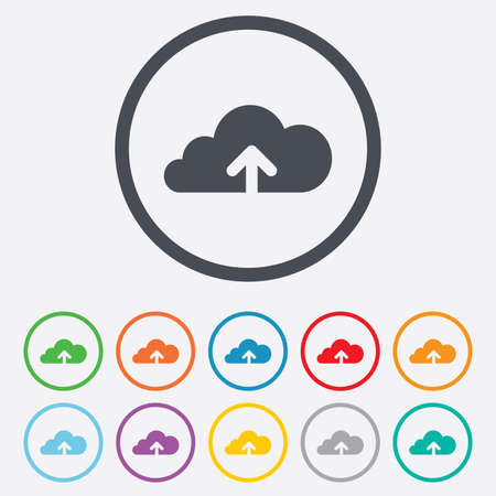 Upload from cloud icon. Upload button. Load symbol. Round circle buttons with frame. Vector