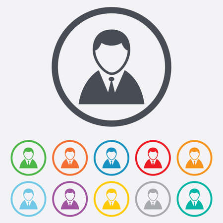 User sign icon. Person symbol. Human in suit avatar. Round circle buttons with frame.  Vector