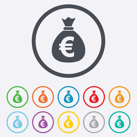 eur: Money bag sign icon. Euro EUR currency symbol. Round circle buttons with frame.