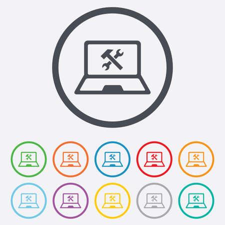 laptop repair: Laptop icono de signo de reparaci�n. Notebook s�mbolo servicio soluci�n. Botones de c�rculo redondos con marco.