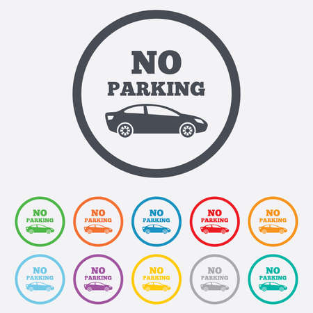 No parking sign icon. Private territory symbol. Round circle buttons with frame. Vector