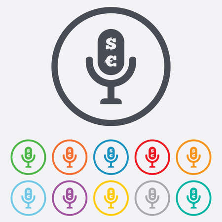 usr: Microphone icon. Speaker symbol. Paid music sign. Round circle buttons with frame.