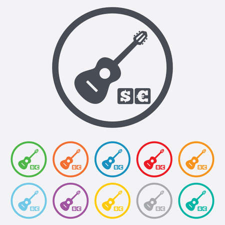 Acoustic guitar sign icon. Paid music symbol. Round circle buttons with frame.  Illustration