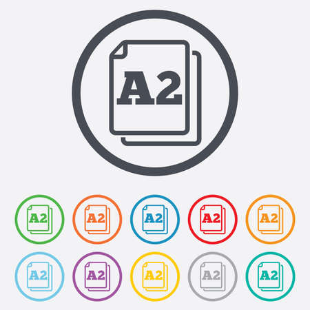 a2: Paper size A2 standard icon. File document symbol. Round circle buttons with frame.  Illustration