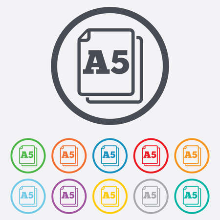 a5: Paper size A5 standard icon. File document symbol. Round circle buttons with frame.  Illustration