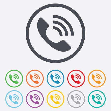 Phone sign icon. Support symbol. Call center. Round circle buttons with frame.  Vector