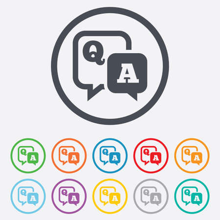 answer: Question answer sign icon. Q&A symbol. Round circle buttons with frame. Illustration