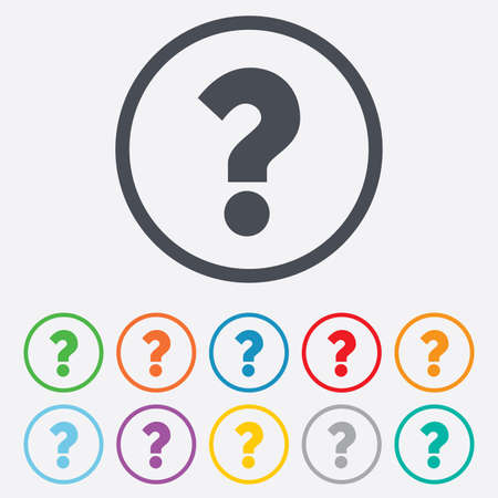 Question mark sign icon. Help symbol. FAQ sign. Round circle buttons with frame.